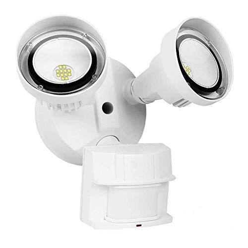 CINOTON 30W LED Flood Security Motion Light Outdoor[250W Equivalent], Dusk to Dawn Wall Mount LED Floodlight,2 Head, Weatherproof IP65,2700 Lumens,5000K, Adjustable Dual Head Motion Sensor Light