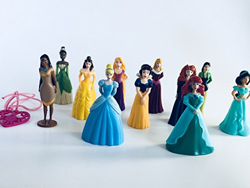 Disney Princess Deluxe Cake Toppers Cupcake Decorations Set of 12 Featuring Cinderella, Aurora, Belle, Jasmine, Ariel, Pocahontas, Tiana, Snow White, Tangled, Merida, Muland and (Disney Princess Cake Decoration)