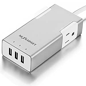 NexGadget 20W 3-Port USB Travel Charger with 2 AC Outlets