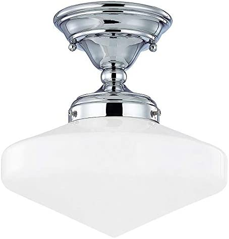 10-Inch Vintage Style Schoolhouse Ceiling Light in Chrome Finish