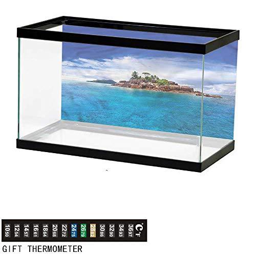 bybyhome Fish Tank Backdrop Island,Rocky Jungle at The Coast,Aquarium Background,24