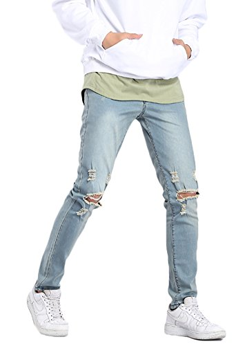 (MEIKESEN Men's Blue Slim Fit Cotton Stretch Destroyed Ripped Skinny Denim Jeans with Holes)