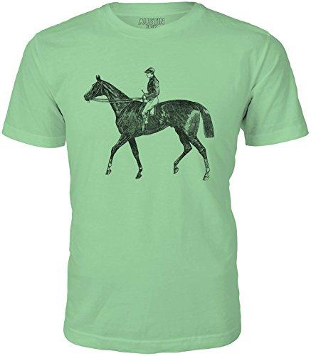 Austin Ink Apparel Unisex Fine Jersey Horse and Jockey Print Soft T-Shirt Top (Leaf Green, L) -