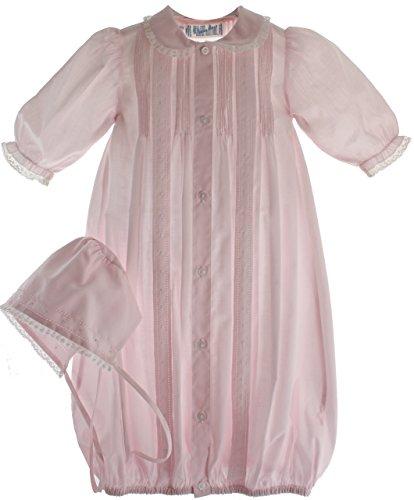 Dress Dot Pintuck (Feltman Brothers Newborn Girls Pink Layette Set Gown & Bonnet Lace Trim)