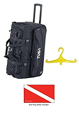 Tusa Dive Gear Roller Duffle Bag in Black w/DiveCatalog's Sticker & Yellow BCD and Regulator Hanger