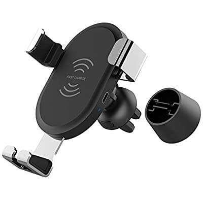 DRAGONHOO Qi 10W Wireless Car Charger, 10W/7.5W Qi Wireless Fast Charging Car Mount, USB-C Dashboard Stand Phone Holder Compatible Mount Pad Automatic Induction