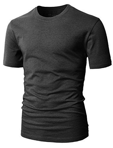 Simple Man T-shirt - H2H Mens Simple Designed Cotton Blend Crew Neck T-Shirt Charcoal US S/Asia M (CMTTS0198)