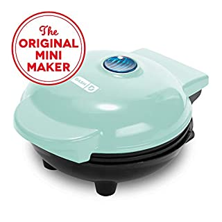 Dash DMS001AQ Mini Maker Electric Round Griddle for Individual Pancakes, Cookies, Eggs & other on the go Breakfast, Lunch & Snacks with Indicator Light + Included Recipe Book - Aqua