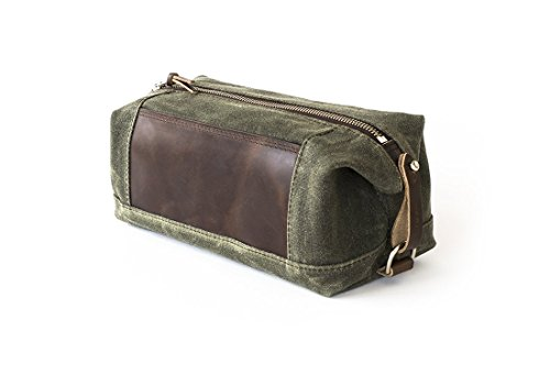 Waxed Canvas Dopp Kit: Expandable, Water-Resistant, Hanging Toiletry Bag, Travel, Olive Green - No. 321 (Made in the USA) by Sivani Designs