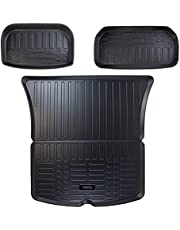 ORKO Tesla Model Y All Weather Interior Trunk and Frunk Mats Laser Cut Largest and Highest Coverage 5D Waterproof Odourless Material Perfect Fitment for Model Y 2020 2021