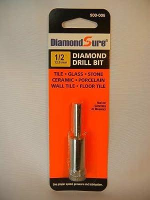 "1/2"" Inch 12.9 mm DiamondSure Diamond Drill Bit Hole Saw for Glass, Tile, Granite, Ceramic, Porcelain, Stone"