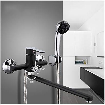 冷たいお湯のシングルハンドル真鍮の浴室の浴槽の蛇口の壁に取り付けられた浴室のシャワーの混合栓が付いている現代様式の浴槽の蛇口は59インチのホースと長い注ぎ口