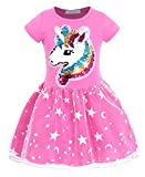 AmzBarley Little Girls Unicorn Dress Casual Cotton Skirts Toddler Flip Sequin Preschool Birthday Party Outfits Rose Size 2-3 Years
