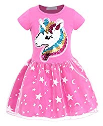 Girls Unicorn Outfit Flip Sequin Party Dress