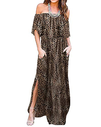 BYSBZD Womens Leopard Print Maxi Dress Off The Shoulder Ruffle Side Split Long Maxi Dress Brown M ()