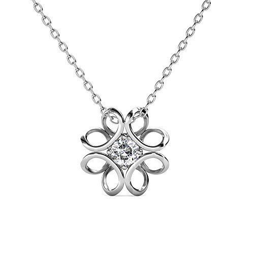 Cate & Chloe Alexis Charming Flower Pendant Necklace, Womens 18k White Gold Plated Necklace with Large Sparkling Solitaire Round Cut Swarovski Crystal, Silver Pendant Necklace for Women, MSRP - 119