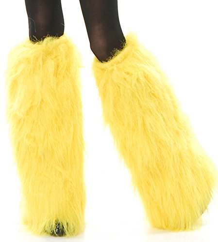 Childs Girls Yellow Club Rave Furry Monster Leg (Monster Leg Warmers)