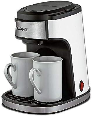 SILVANO Cafetera eléctrica de Goteo Blanco Brillo con 2 Tazas de Porcelana: Amazon.es: Hogar