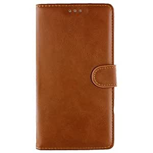 WQQ Samsung Galaxy Note 4 compatible Solid Color PU Leather Full Body Cases , Dark Brown