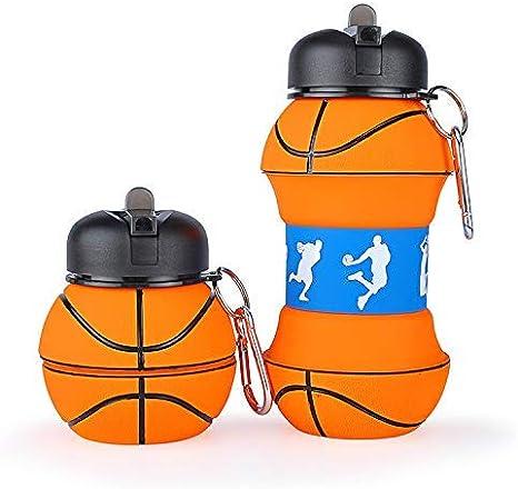 Botella Agua Silicona Diseño Baloncesto y Deporte - Niños, Niñas y ...