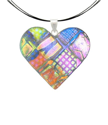 DreamGlass Sterling Silver and Dichroic Glass Multi Color Traslucent Heart Pendant and Necklace - 18