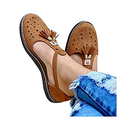 Duinzusyful Womens Platform Slip On Loafers Comfort Tassel Hollow Out Sandals Buckle Ankle Strap Casual Beach Sneakers: Clothing