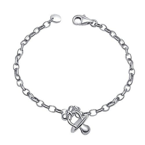 Platinum Plated 925 Sterling Silver Pacifier Baby Children Anklet / Bracelet, Baby Shower ...