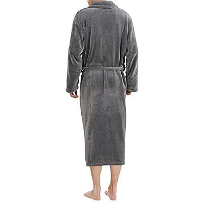Haseil Men's Bathrobe Fleece Solid Plush Long Sleeve Microfiber Luxury Bathrobe