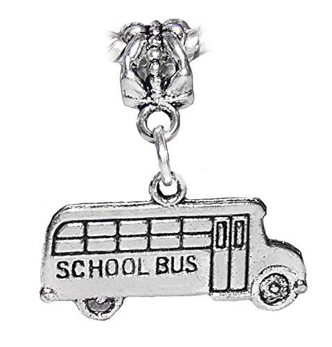 Pendant Jewelry Making School Bus Children Teacher Kids Dangle Charm for European Bead Slide Bracelets
