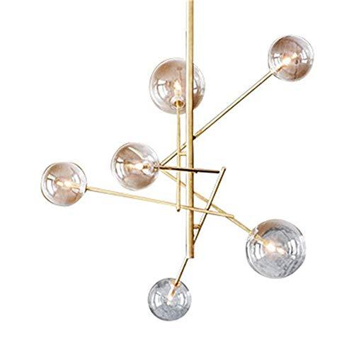 JIASHU Chandelier Lighting 6 Lights Brushed Brass Chandelier Mid Century Pendant Lighting Gold Ceiling Light Fixture for Hallway Bar Kitchen Dining Room Pendent Lights