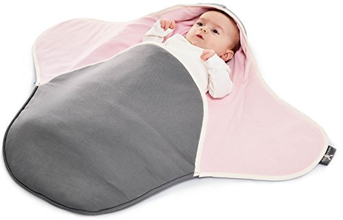 Wallaboo Baby Blanket Coco,Supersoft 100% Pure Cotton, Multi-Use for Pram or Car Seat and Travel, Newborn upto 10 months, Size: 35 x 28 inch, Color: Grey / Pink For Sale