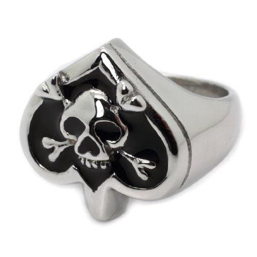 Stylish Black Enamel Heart Design Stainless Steel Ring with Skull & Crossed Bones - Size: 12.5 (Size: 12.5)