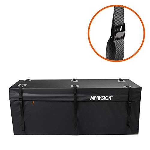 MARKSIGN 100% Waterproof Hitch Carrier Cargo Bag 58 x 19 x 23 (15 Cu Ft), Waterproof Zipper and Rain Flap, 6 Lashing Straps with Cam Buckles