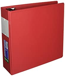 Samsill Clean Touch 3 Ring Binder, Protected by Antimicrobial Additive, 4 Inch Capacity, Reference Binder with Label Holder, Locking Round Ring, Red