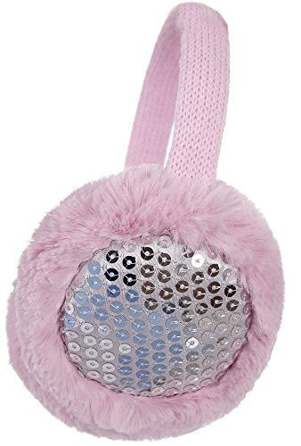 (Kids Girls Winter Warm Faux Fur Plush Sequins Earwarmer Earmuffs Pink)