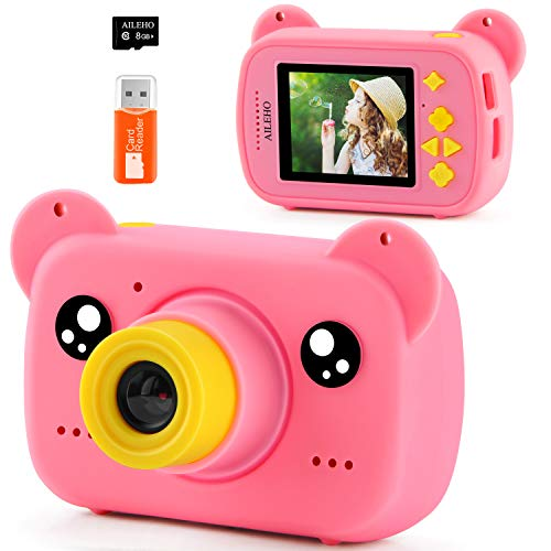 AILEHO Kids Camera for Girls Pink Bear Cartoon Birthday Children Toy Toddler Camera 3-10 Year Old Starter Kids Digital Camera 8M 1080P with 8G Card Kids Video Camera IPS 2.0