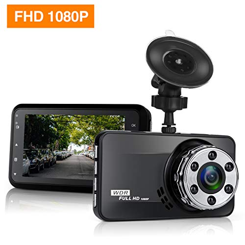 Dash Cam, Mokcoo Full HD 1080P Dashboard Camera Cars, Car Dash Cam Driving Recorder 170° Angle Super Night Vision G-Sensor Loop Recording (Black)