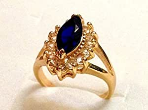 18KGP Yellow Gold Ring with Blue Stone & Crystal C