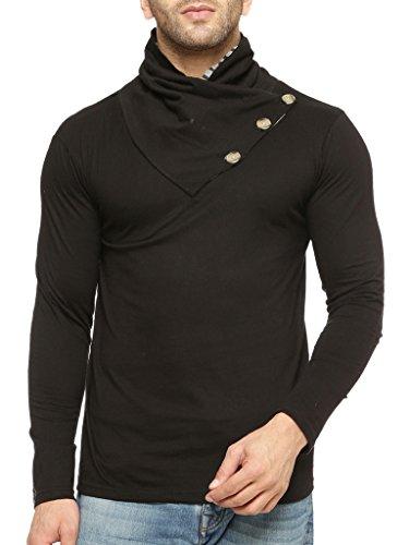 45239aca4 GRITSTONES Men s Cotton Varsity Full Sleeve Shawl Collar T-Shirt   Amazon.in  Clothing   Accessories