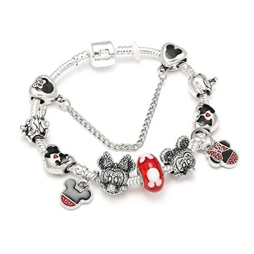 Fashion Animal Mickey Charm Bracelets Bangles Women Jewelry Minnie Pink Bow-Knot Pendant BrBracelet DIY Hmade for Girl Gift