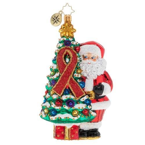 Christopher Radko Hand-Crafted European Glass Christmas Decorative Figural Ornament, AIDS Awareness Christmas Tree