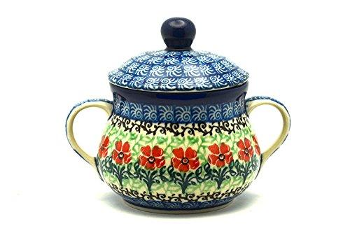 (Polish Pottery Sugar Bowl - Maraschino)