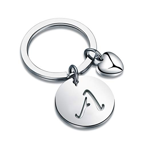 HOLLP Silver Initial Disc Charm Keychain 26 Initial Letter Alphabet Key Ring A-Z Initial English Charm Stainless Steel Initial Key for Women (A)]()