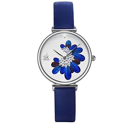 SHENGKE Simplicity Creative Women Watch Genuine Leather Elegant Women Watches Ladies Business Wristwatch (K0123L-Blue)