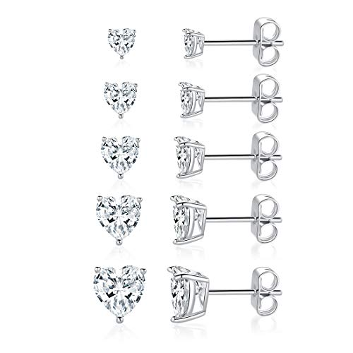 MDFUN 18K White Gold Plated Heart Shape Cut Cubic Zirconia Stud Earring Pack of 5 - Heart Mm Shape 4