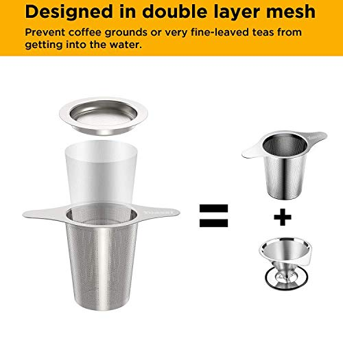 Ultra Fine Micro-Mesh FDA Approved 18//8 Stainless Steel Tea Strainer Steeper Double Handles for Hanging on Teapots Yoassi Upgraded Coffee Infuser Mugs Cups to Steep Loose Leaf Tea and Coffee