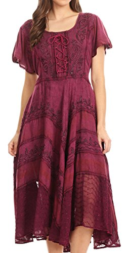 Sakkas 15323 - Mila Long Corset Embroidered Cap Sleeve Dress with Adjustable Waist - Pink - ()