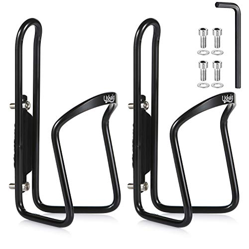 UShake Water Bottle Cages, Basic MTB Bike Bicycle Alloy Aluminum Lightweight Water Bottle Holder Cages Brackets (2 Pack) (Best Bicycle Water Bottle)