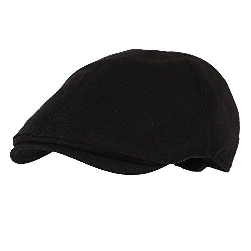 WITHMOONS Simple newsboy Hat Flat Cap SL3026 (BlackM)