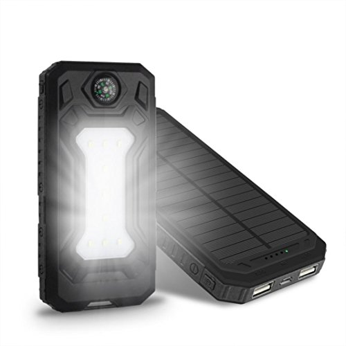 Portable Solar Phone Charger Sandistore DIY 30000mAh Solar Power Bank External Backup Outdoor Cell Phone Battery Charger with Dual USB Port, LED Flashlights,Solar Charger Case [No Battery] . (Black) by Sandistore (Image #1)